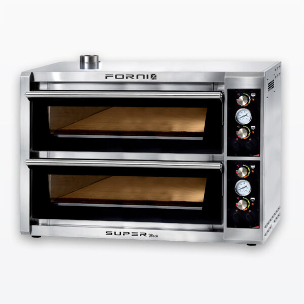Eight pizza fast baking oven with electromechanical control