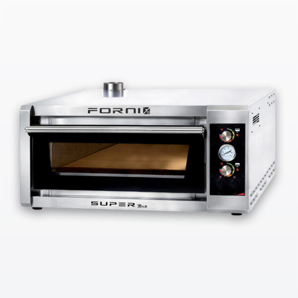 Four pizza fast baking oven with electromechanical control