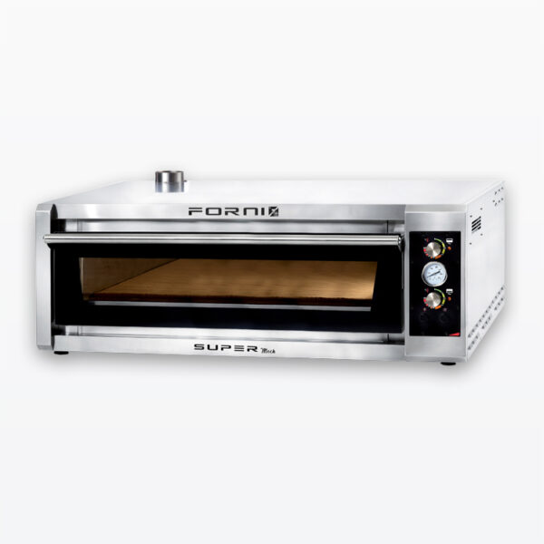 Six pizza fast baking oven with electromechanical control