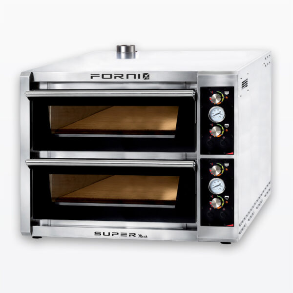 Twelve pizza fast baking oven with electromechanical control